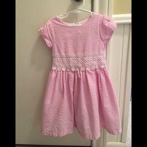 Rare editions seersucker girls pink/white dress